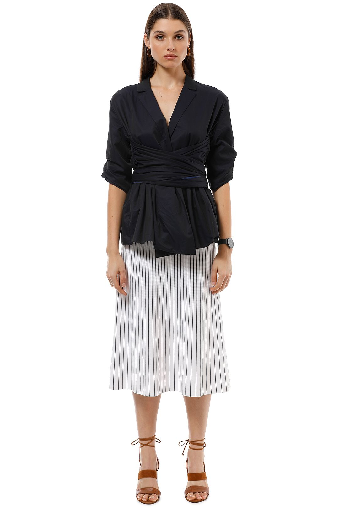 Camilla and Marc - Clarissa Wrap Shirt - Navy - Front