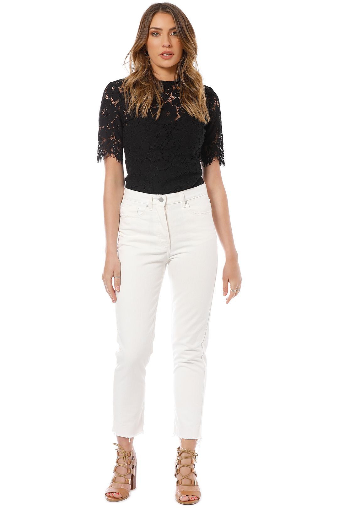 Camilla and Marc - Margot Cropped Straight Leg Jeans - White - Front