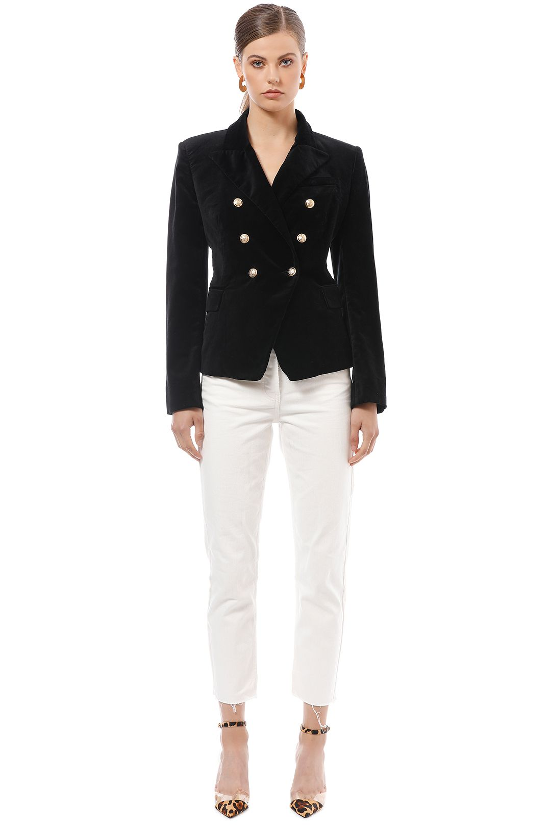 Camilla and Marc - Velvet Dimmer Blazer - Black - Front
