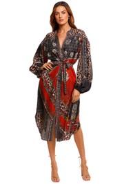 Camilla Blouson Sleeve Midi Dress print