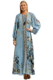 Camilla Dress With Smocked Sleeve Maxi Length Blue