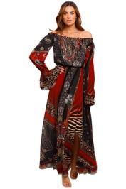 Camilla Drop Shoulder Split Dress print