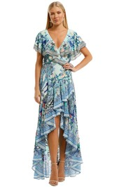 Camilla Frill Sleeve Long Dress Blue Maxi