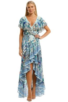 Camilla Frill Sleeve Long Dress Blue Maxi