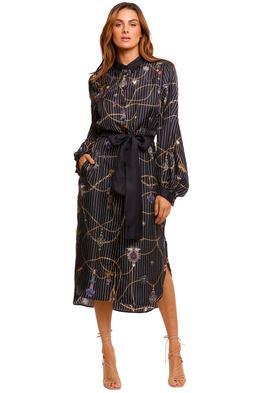 Camilla High Low Midi Shirt Dress stripe print