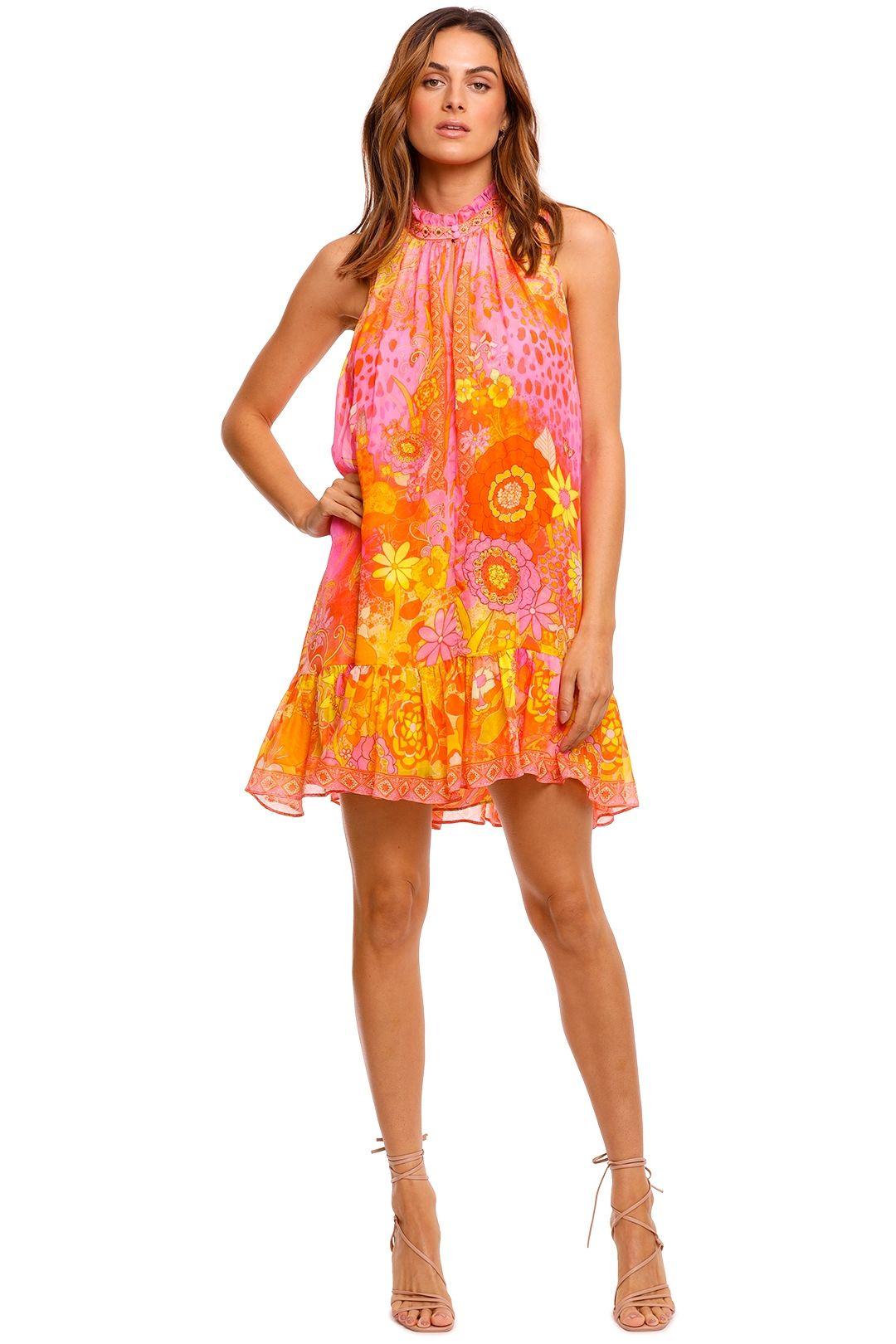 Camilla High Neck Ruffle Dress