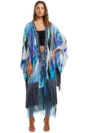 Camilla Kimono With Long Underlayer Tassel Cape