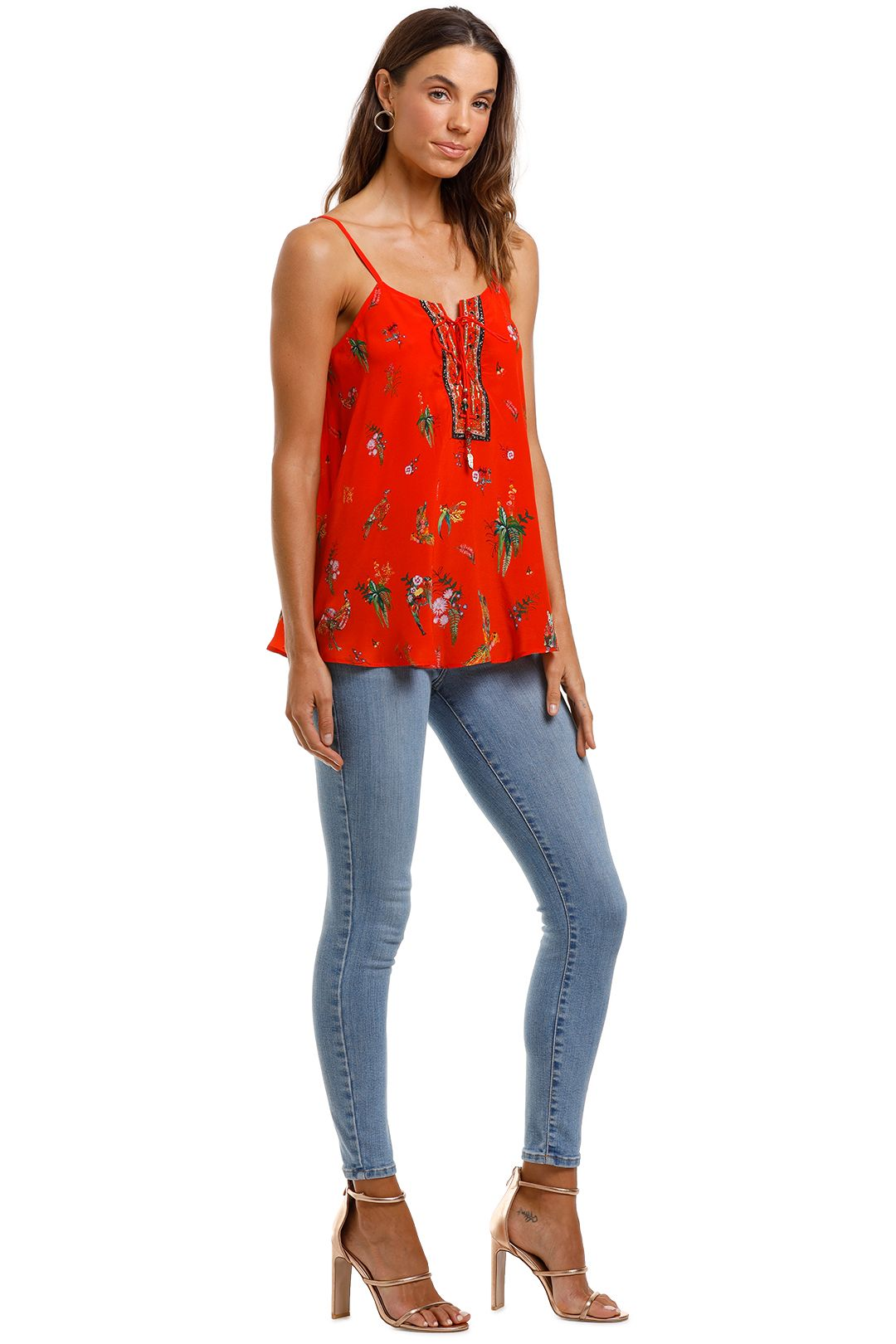 Camilla Lace Up Front Cami Red Tropical Print