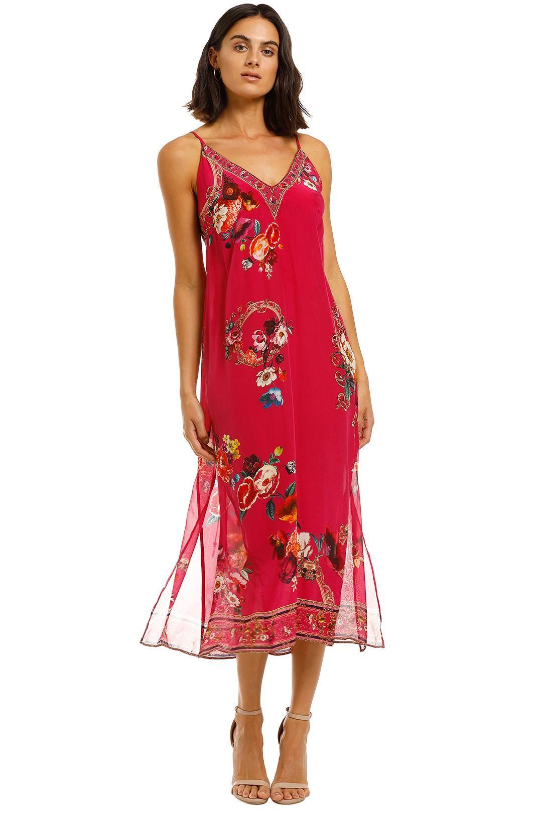 Camilla Lace Up Slip With Sheer Panel Dress Midi