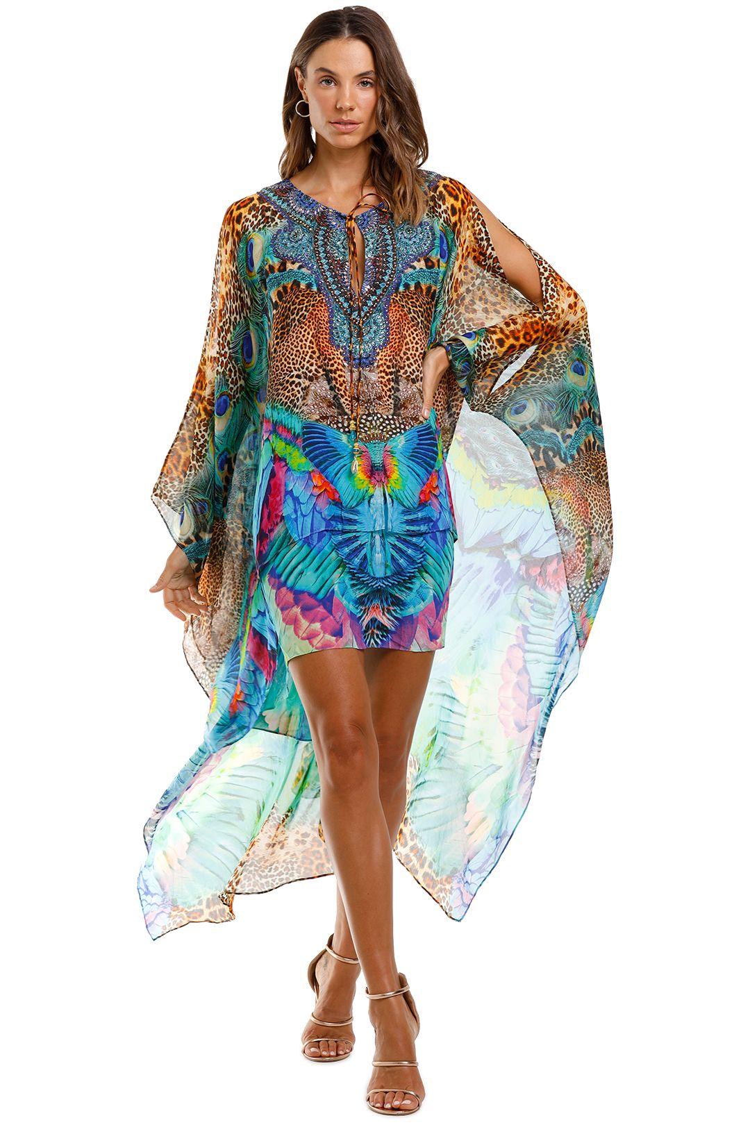 Camilla Long Sheer Overlay Dress Mother Xanadu Blue Print