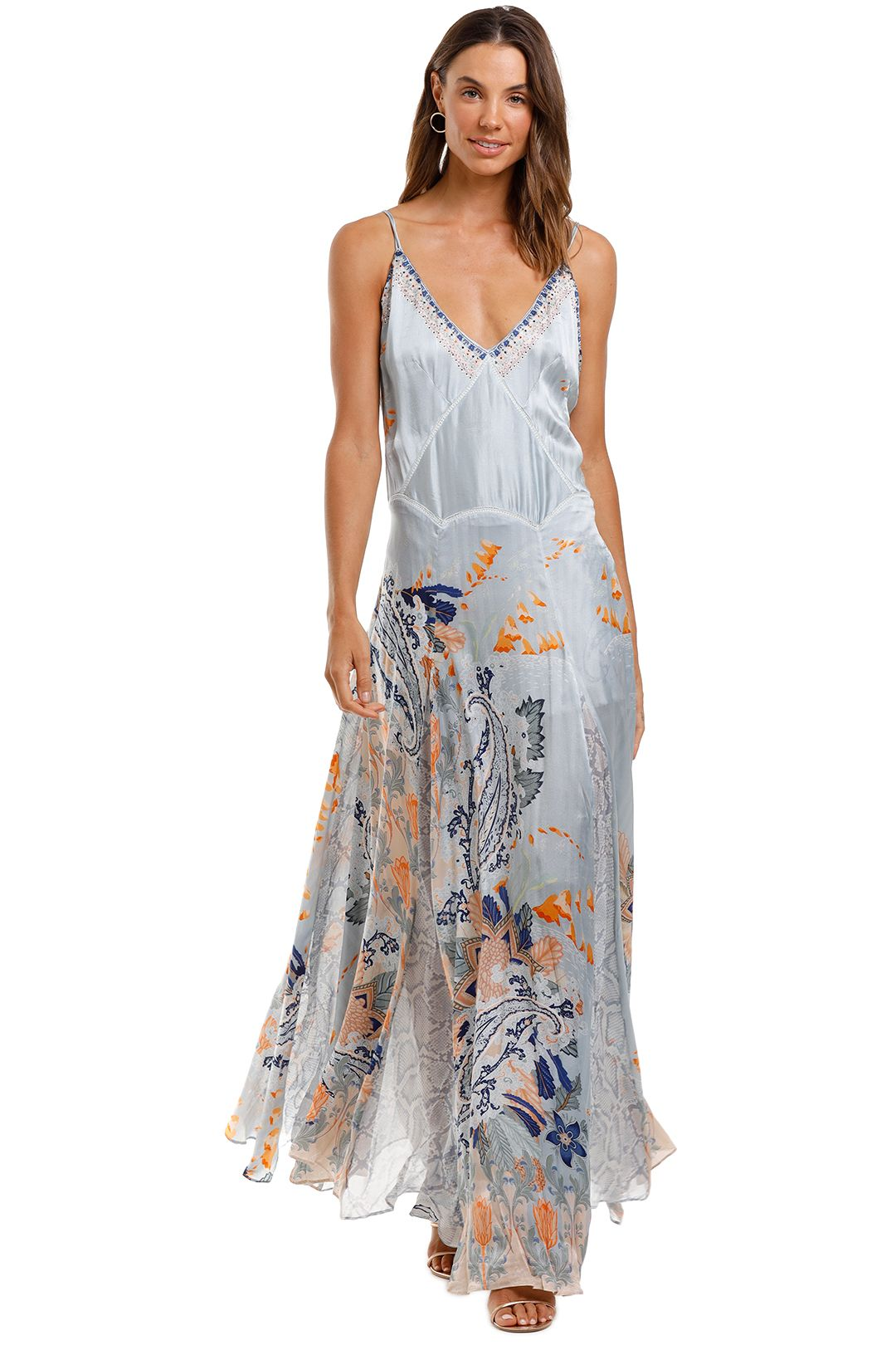 Camilla Long Slip Dress With Godets