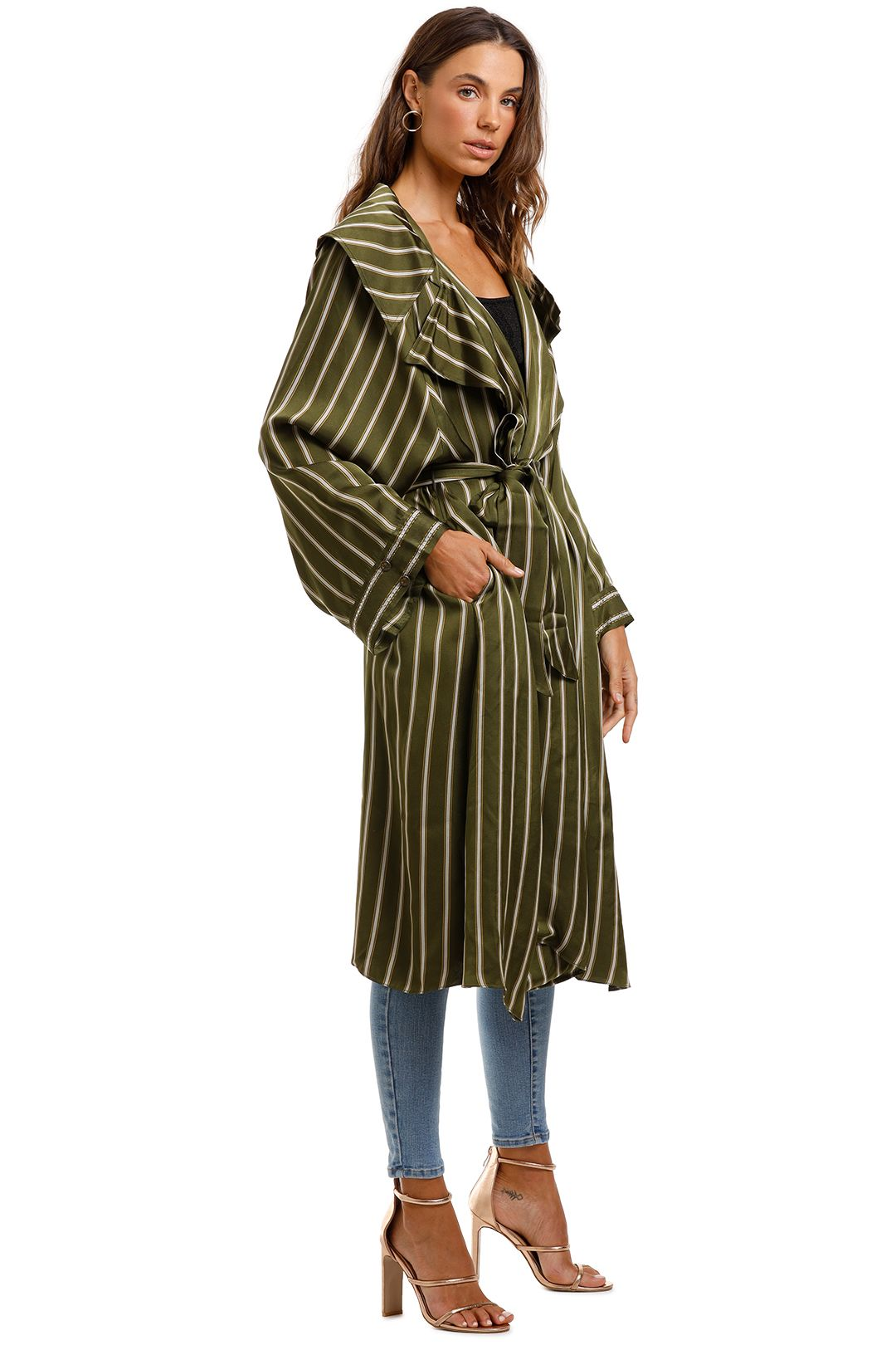 Camilla Loose Longline Trench Among The Gumtrees Green Coat