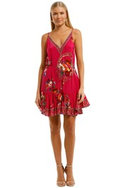 Camilla Mini Dress With Ruffle Hem Pink Fuschia