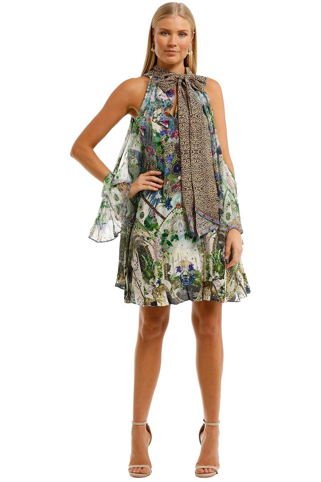 Camilla Neck Tie Short Dress Moon Garden Cold Shoulder