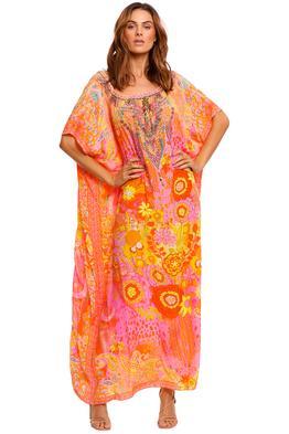 Camilla Off Shoulder Kaftan With Split pink orange
