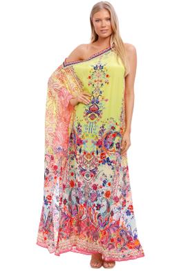 Camilla One Shoulder Kaftan With Neckband Peace Movement Print