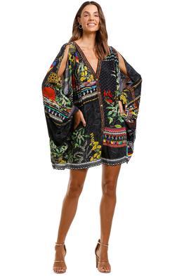 Camilla Playsuit With Sleeve Split Cold Shoulder Black