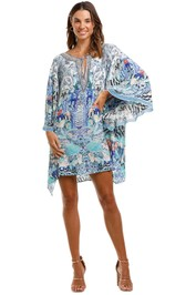 Camilla Shaped Hem Short Kaftan Blue Print