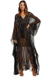 Camilla Sheer Kaftan With Tie maxi print