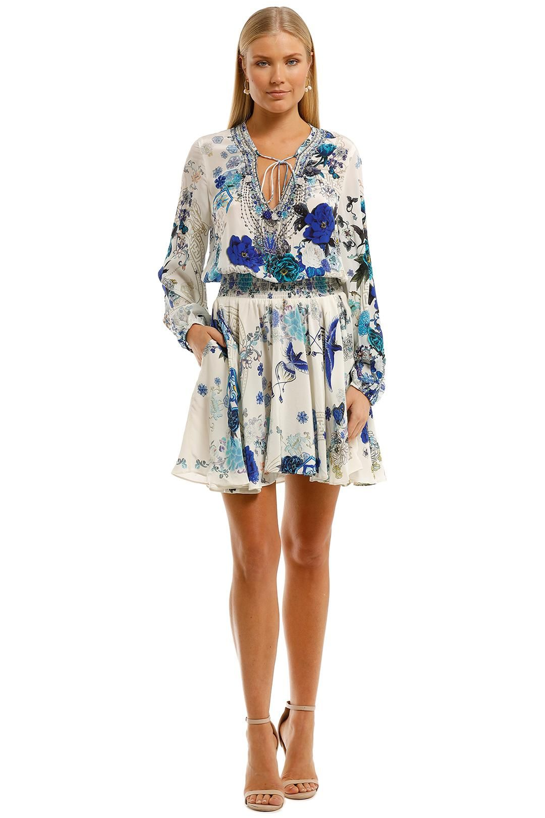 Camilla Shirred Relaxed Short Dress Floral Print