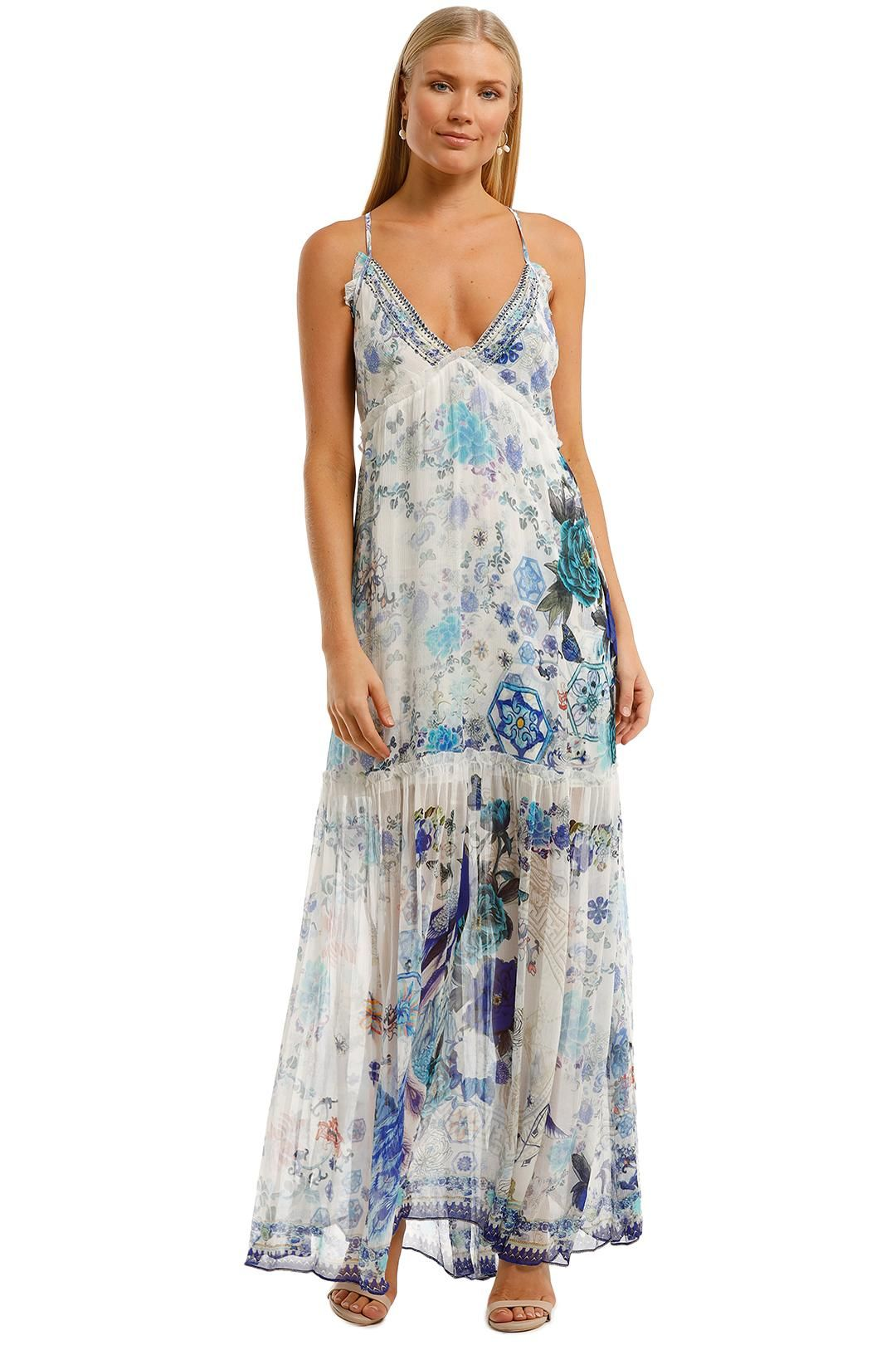 Camilla Shoestring Strap Gathered Dress Blue Maxi Dress