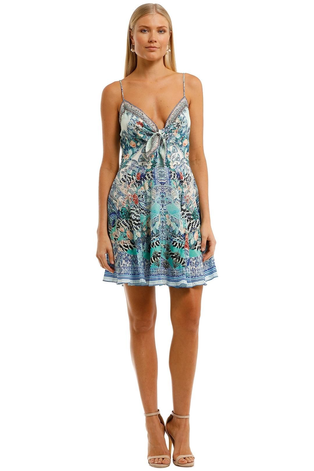 Camilla Short Dress With Tie Front Blue Mini Dress
