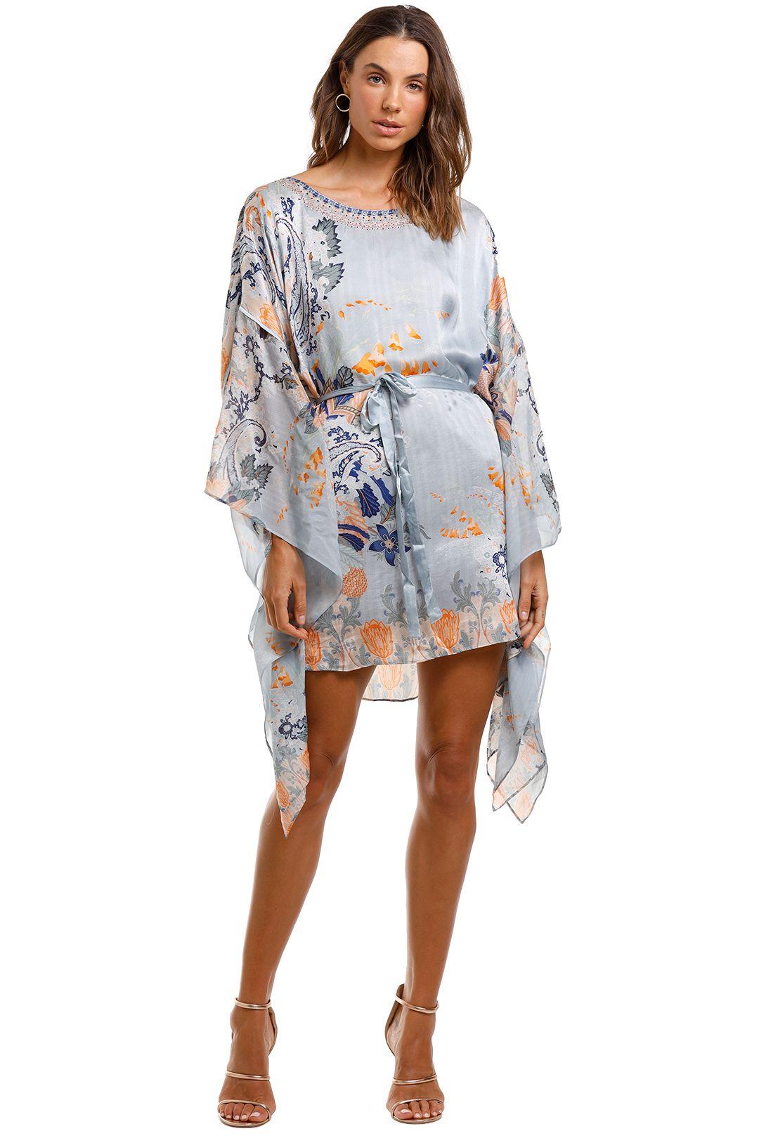 Camilla Short Kaftan With Sheer Sleeves Boho Silk Dress