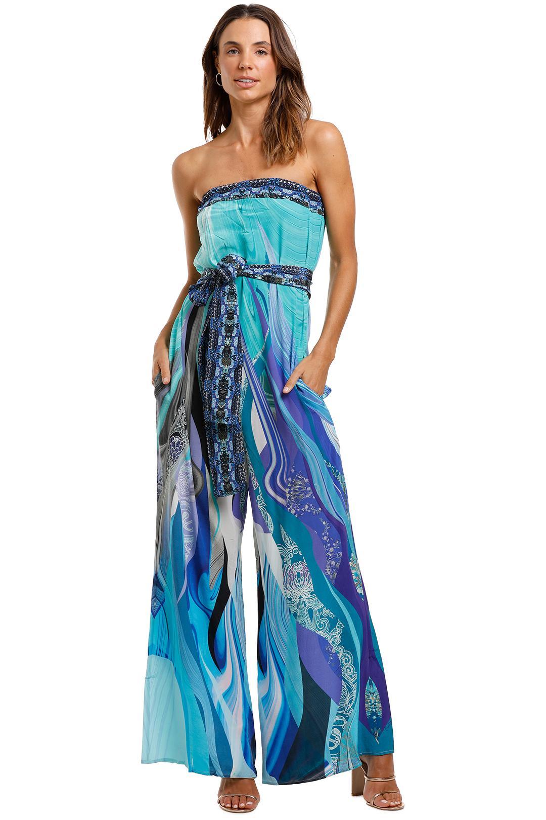 Camilla - Tie Waist Strapless Jumpsuit