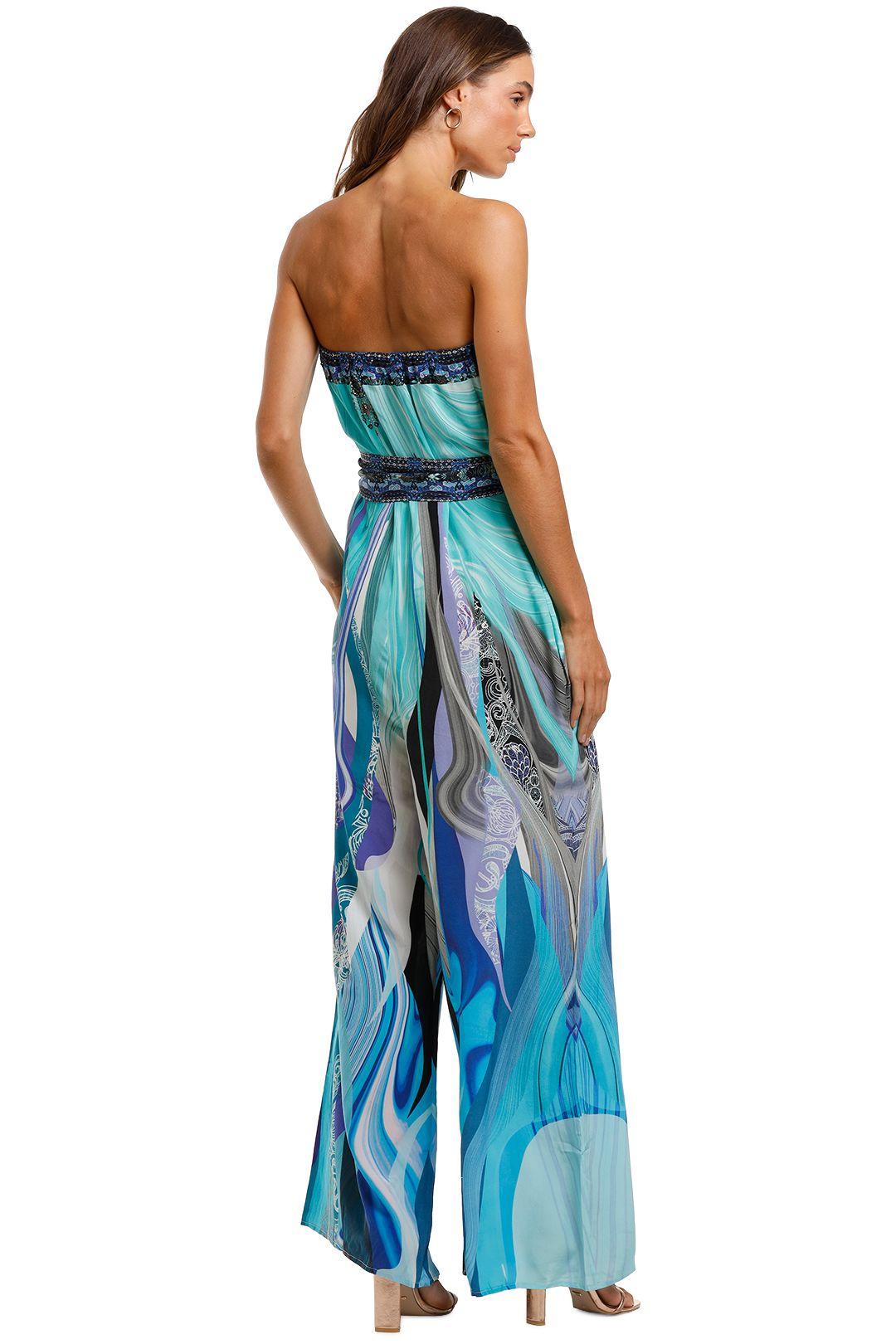 Camilla Tie Waist Strapless Jumpsuit blue print