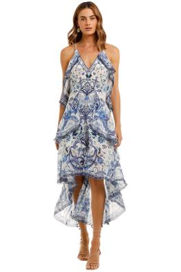 Camilla V-Neck Fitted Dress With Ruffles Talking About A Revolution