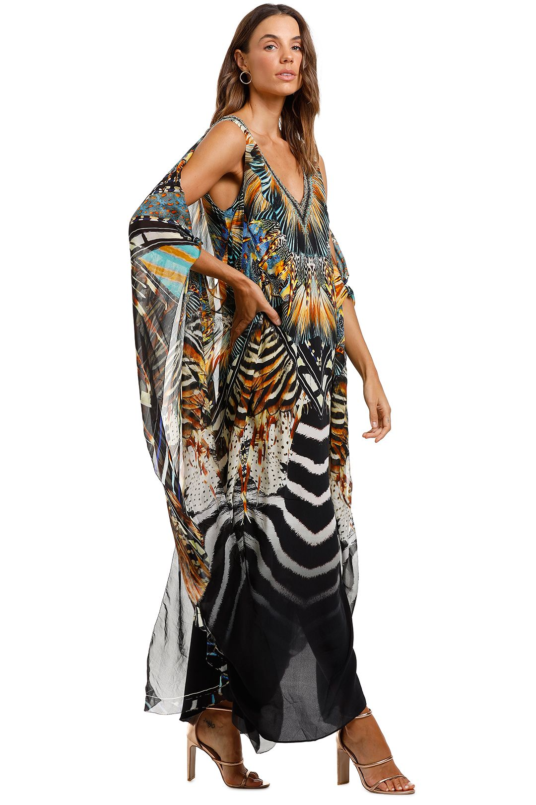 Camilla V Neck Dress With Back Overlayer Kaftan