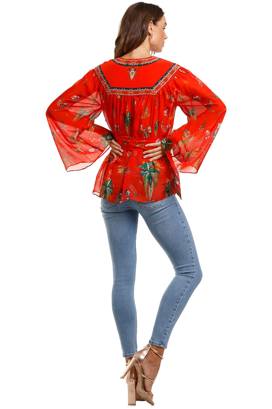 Camilla Wrap Blouse With Yoke Red Tropical Print