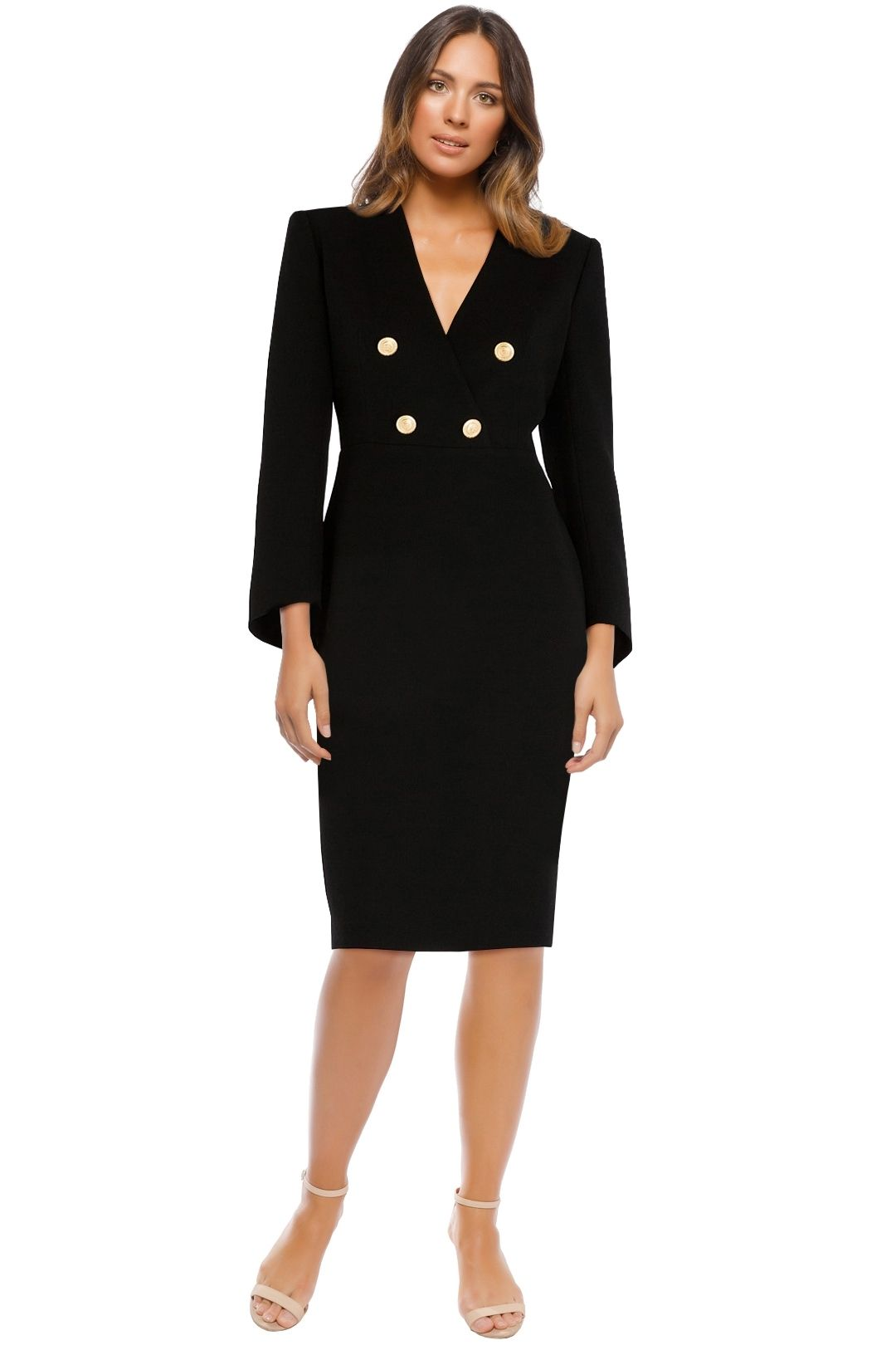 Carla Zampatti - Onyx Military Precision Dress - Black - Front