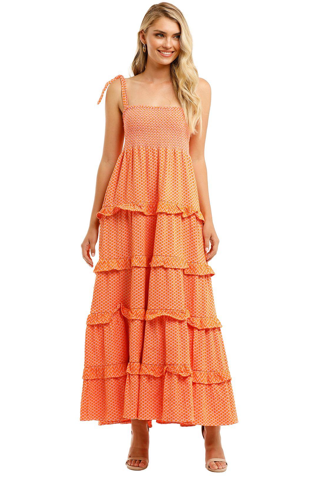 Cecilie-Copenhagen-Mina-Maxi-Dress-Orange-Front