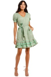 Cecilie Copenhagen Livia Mini Dress Mint short sleeve