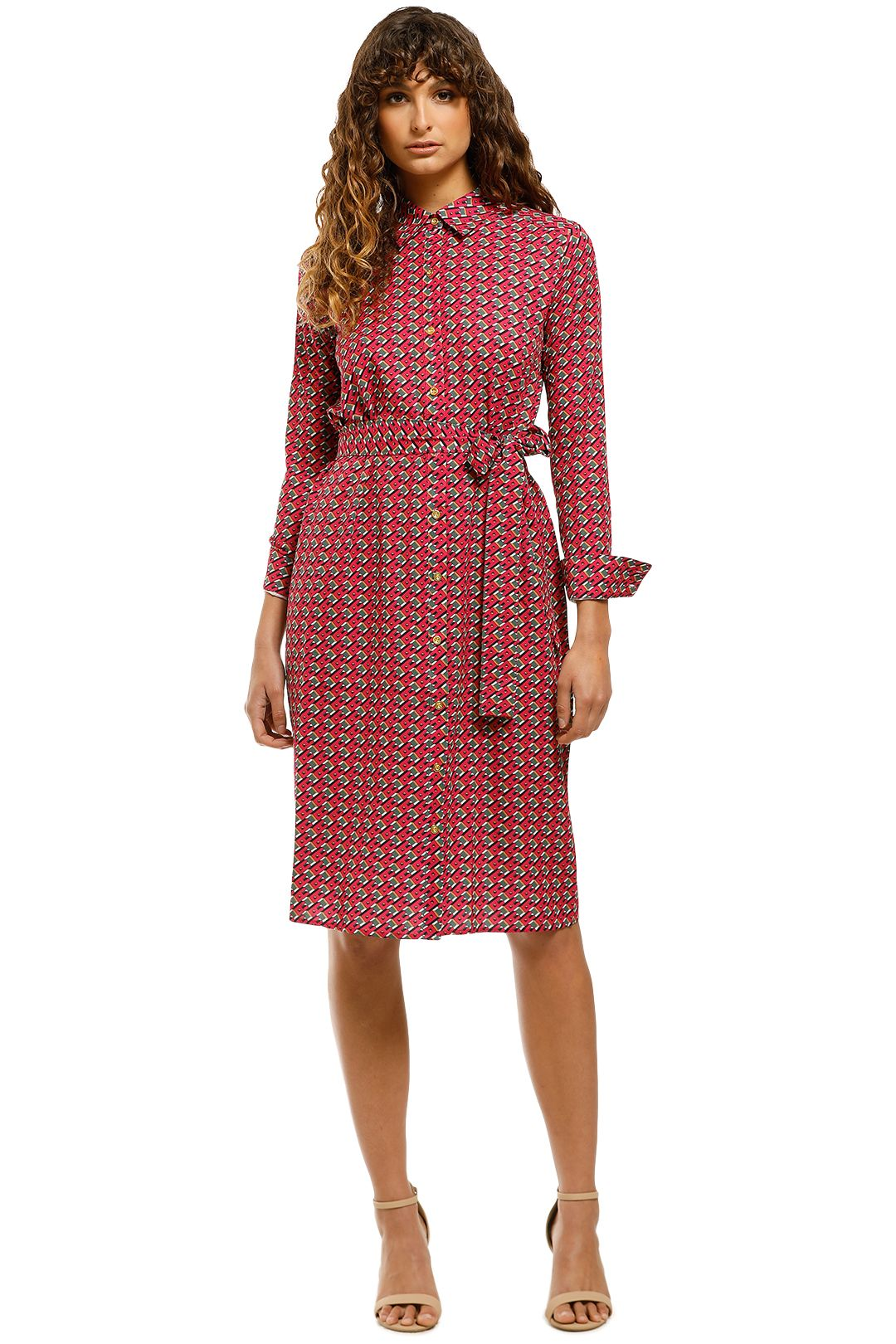 Cecillia-Button-Down-Shirt-Dress-Red-Multi-Front