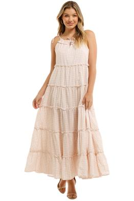 Charlie-Holiday-Senorita-Maxi-Dress-Biscuit-Gingham-Front