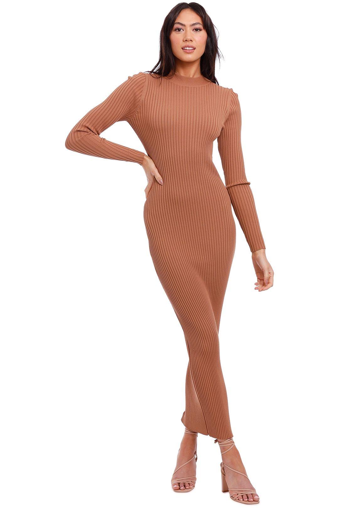 Charlie Holiday Violet Midi Dress Chocolate cutout