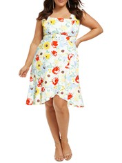 City-Chic-Flirty-Floral-Dress-Ivory-Front