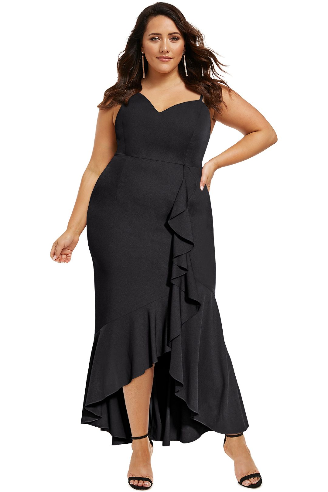 City-Chic-Ruffle-Delight-Maxi-Dress-Black-Front