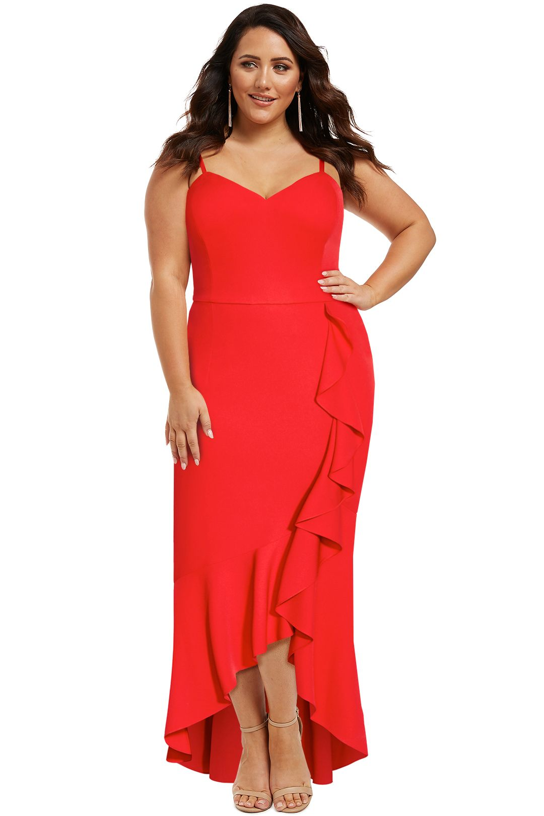 City-Chic-Ruffle-Delight-Maxi-Dress-Red-Front