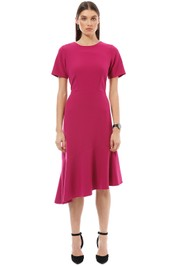Closet London - Asymmetric Frill Dress - Pink - Front