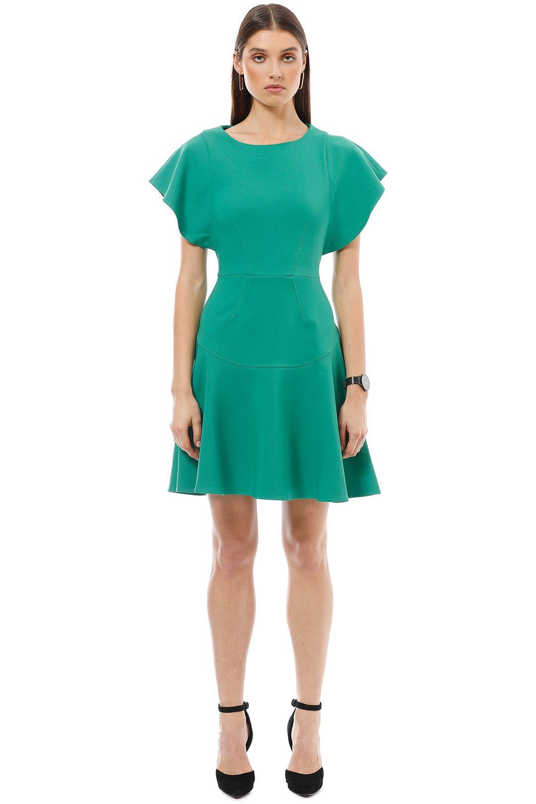 Closet London - Frill Sleeve Flared Dress - Green - Front