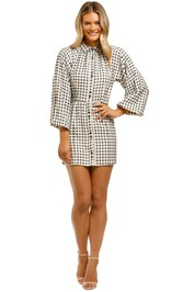 CMEO-Collective-Inhale-LS-Dress-Cream-Black-Check-Front