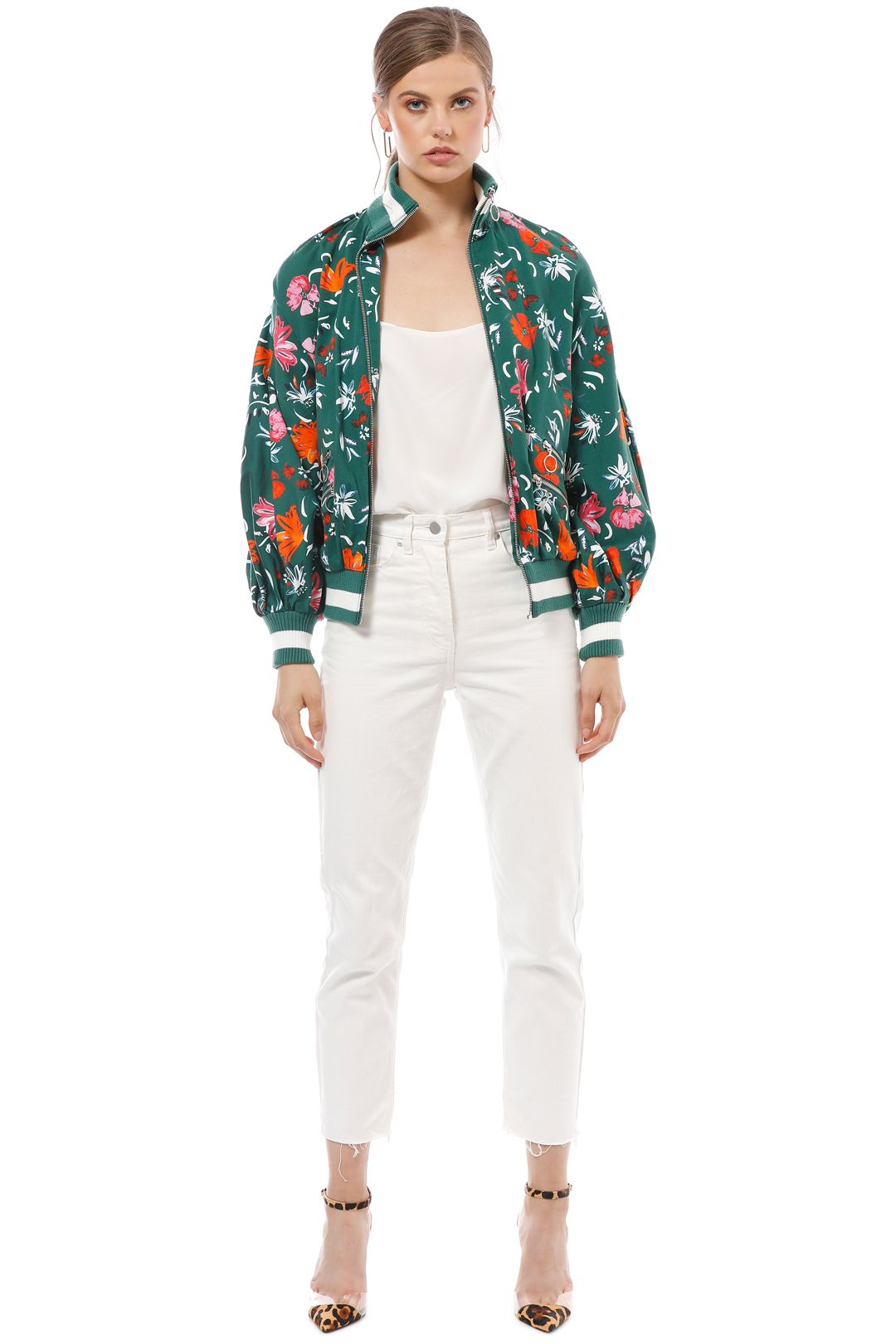CMEO Collective - Elation Bomber - Green Floral - Front
