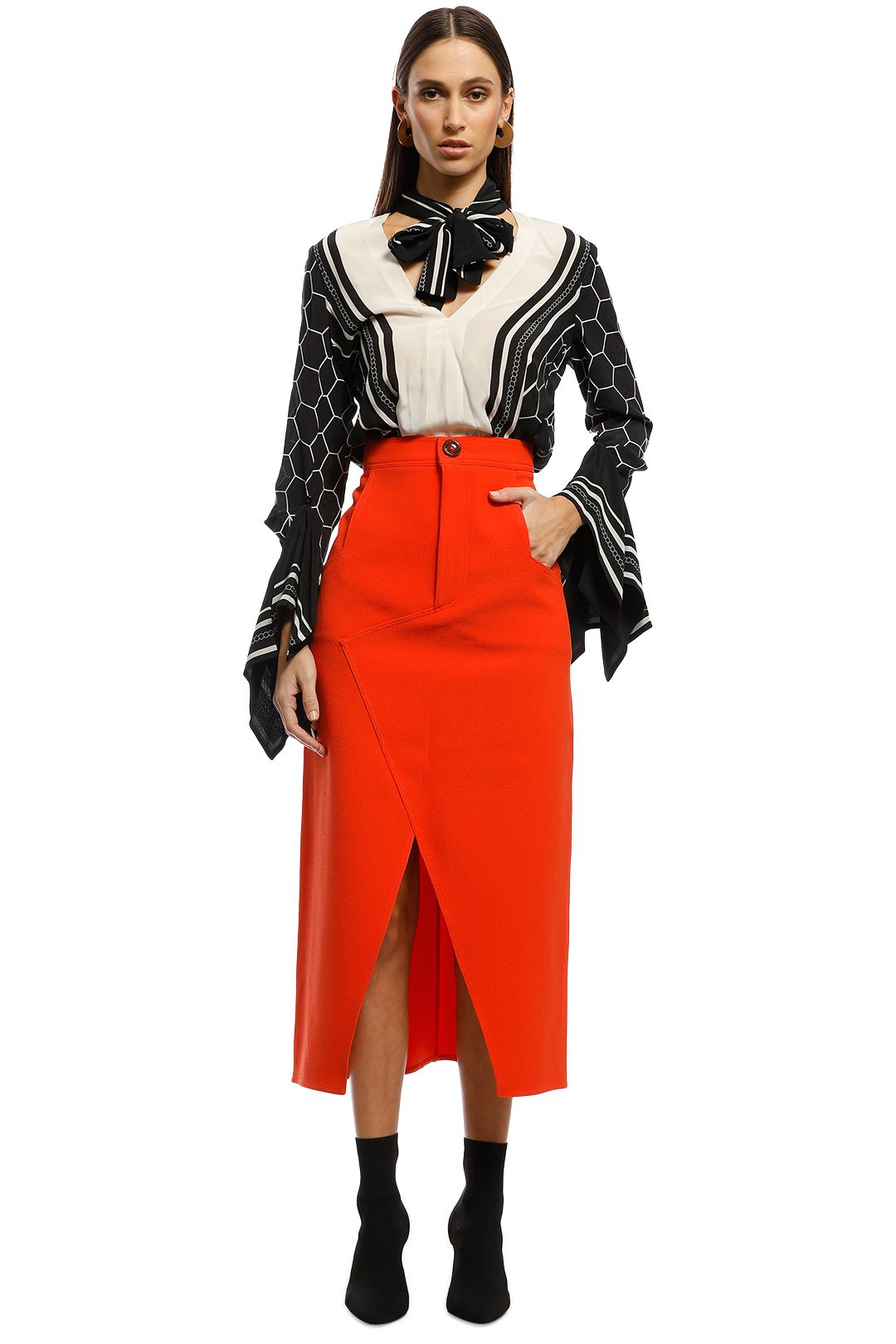 CMEO Collective - High Heart Skirt - Orange - Front