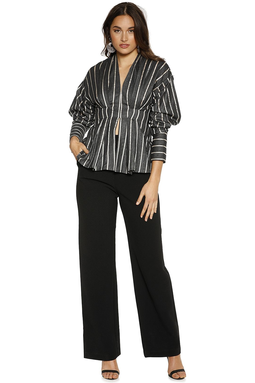 CMEO Collective - Moments Apart Top - Navy Stripe - Front