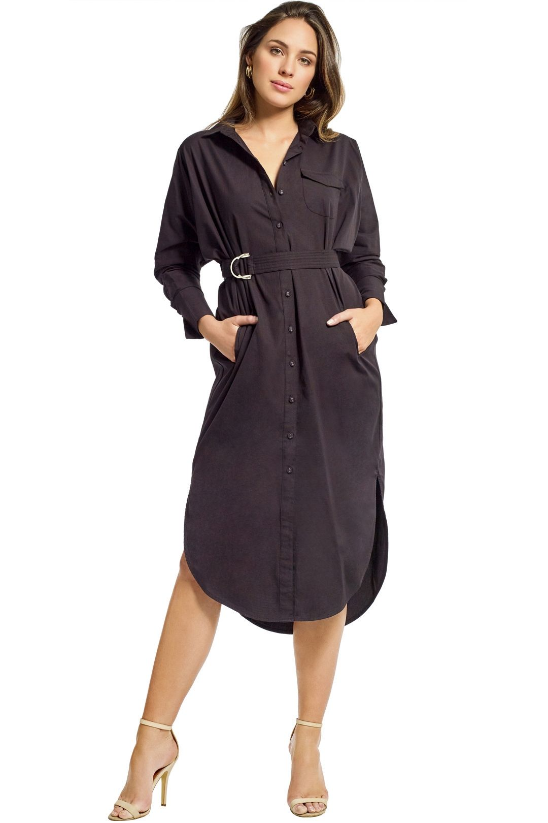 Cmeo Collective - Petition Shirt Dress - Black - Front