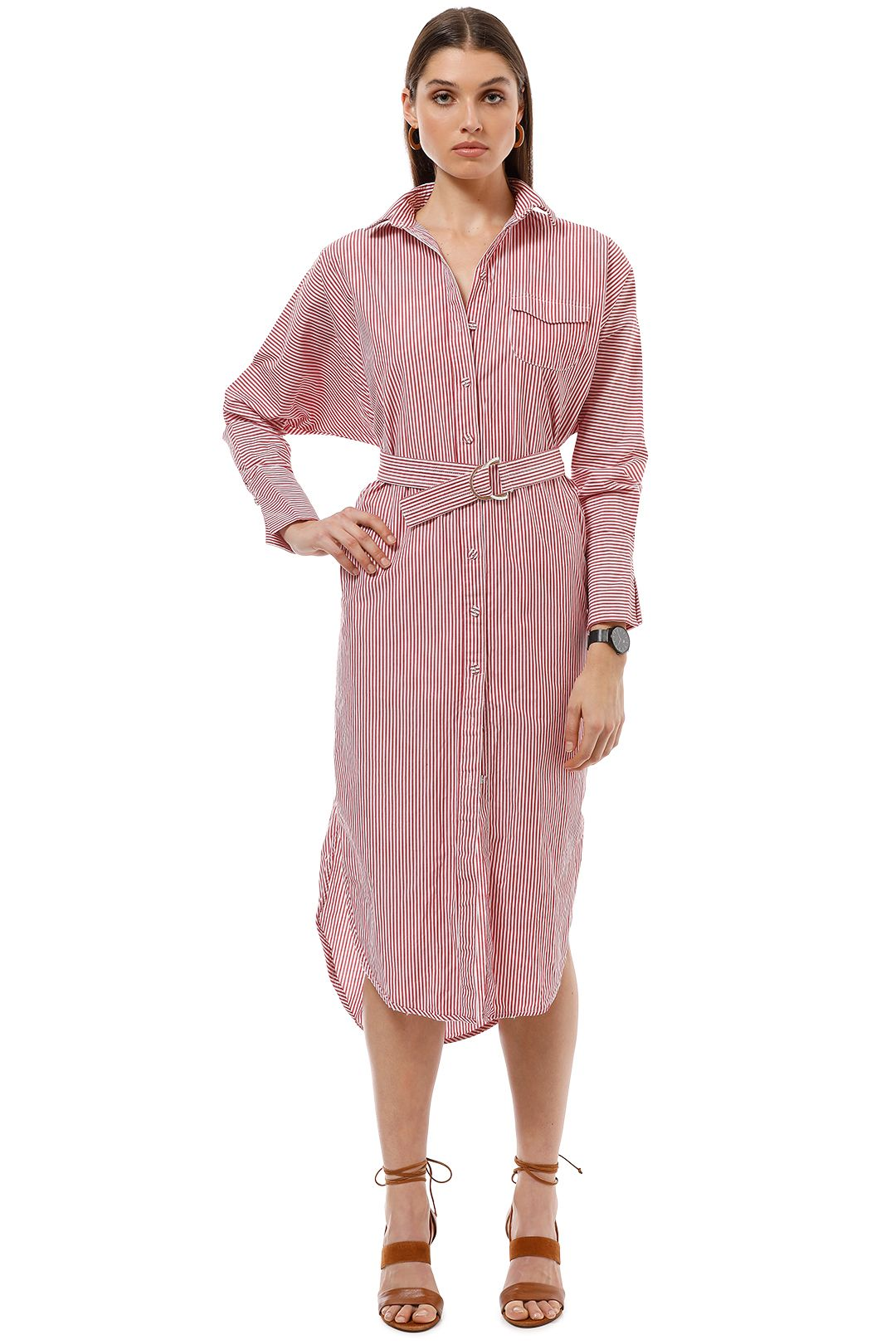 CMEO Collective - Petition Shirt Dress - Red Stripe - Front