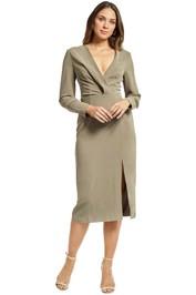 Cmeo Collective - Questions LS Midi Dress - Khaki - Front